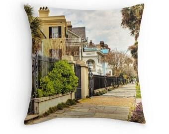 Charleston Photo Pillow, South Carolina Decor, Throw Pillow Cover, Charleston SC Home Decor, Rainbow Row Art Pillow, Souvenir Southern Decor