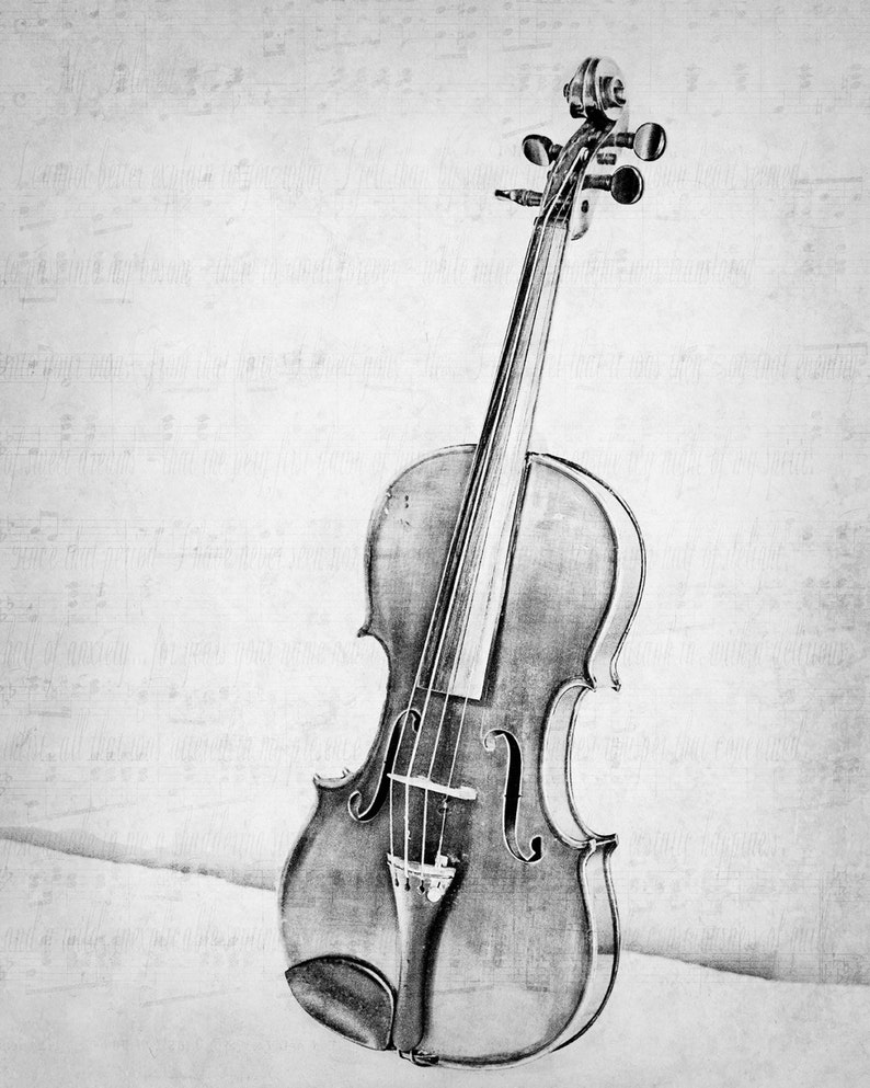 An Old Violin Fine Art Photography Violin Musical Instrument Photo Print  Classical Music Room Wall Decor Music Lover Gift Black and White