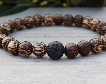 Mens Bracelets, Wood Bracelet, Wood Jewelry, Lava Bracelet, Gift for Boyfriend, Gift for Him, Beaded Bracelet, Mens Jewelry, Wooden Bracelet