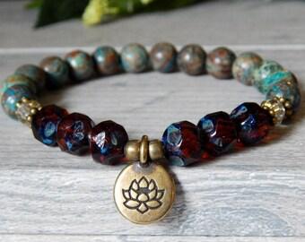 Yoga Bracelets, Lotus Bracelet, Lotus Flower, Flower Bracelet, Yoga Jewelry, Gemstone Bracelet, Flower Jewelry, Boho Bracelet, Boho Chic