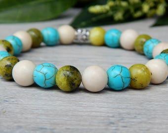 Gemstone Bracelet, Stone Bracelet, Beaded Bracelet, Turquoise Bracelet, Boho Chic, Bracelet for Women, Hippie Jewelry, Boho Style