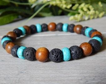 Mens Bracelet, Lava Bracelet, Turquoise Bracelet, Wood Bracelet, Jewelry for Men, Wooden Bracelet, Diffuser Bracelet, Mens Beaded Bracelet