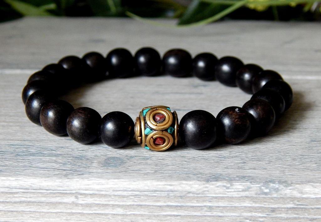 mens black bracelet mens bracelet mens ebony wood bracelet. Black Bedroom Furniture Sets. Home Design Ideas