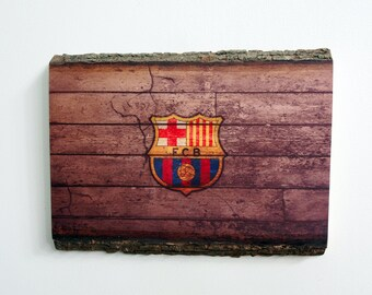 FC Barcelona Handmade Wood Sign - Rustic Wooden Plaque with FCB Design - Man Cave Sports Teams Decor