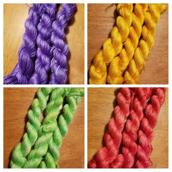 Spring Nothings... Set of 4 Skeins - 60/40 Mohair/Silk Indie Dyed Yarn 50g 141m/Each skein
