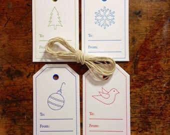 Set of 8 Letterpress Christmas Tags