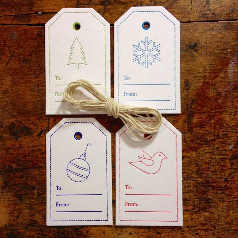 Set of 8 Letterpress Christmas Tags image 0