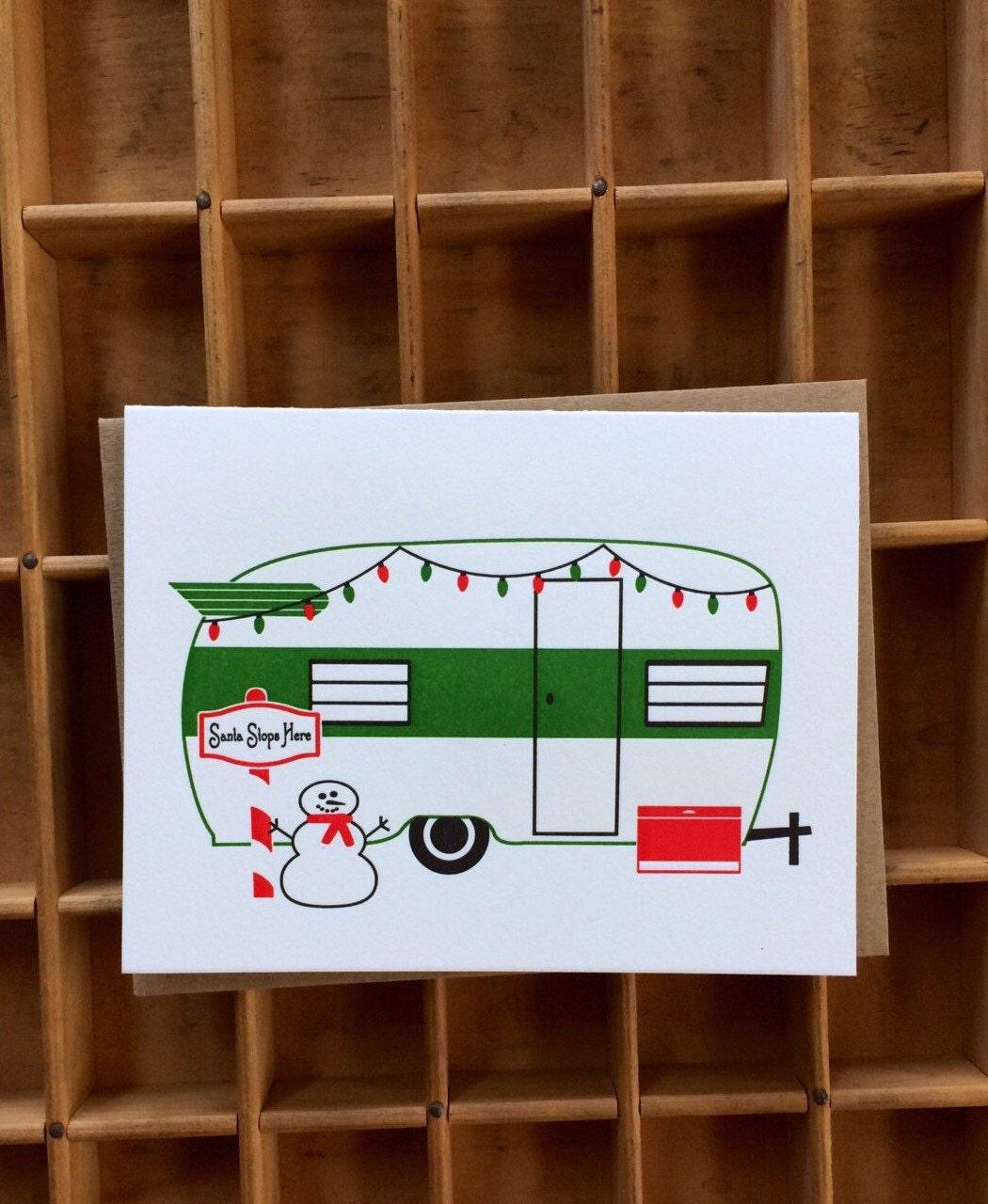 Santa Stops Here Letterpress Vintage Trailer Christmas Card | Etsy