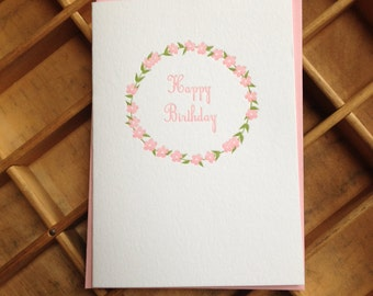 Pink Floral Wreath Happy Birthday Card Letterpress