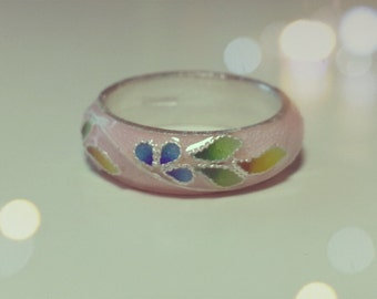 Flower fine silver ring, beautiful cherry blossom pink, Korean Chilbo(cloisonné) finished.