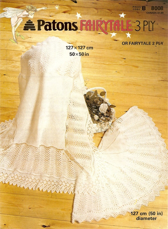 Pdf Knitting Pattern Lacy Baby Shawls Patons 8008 Fairytale Etsy