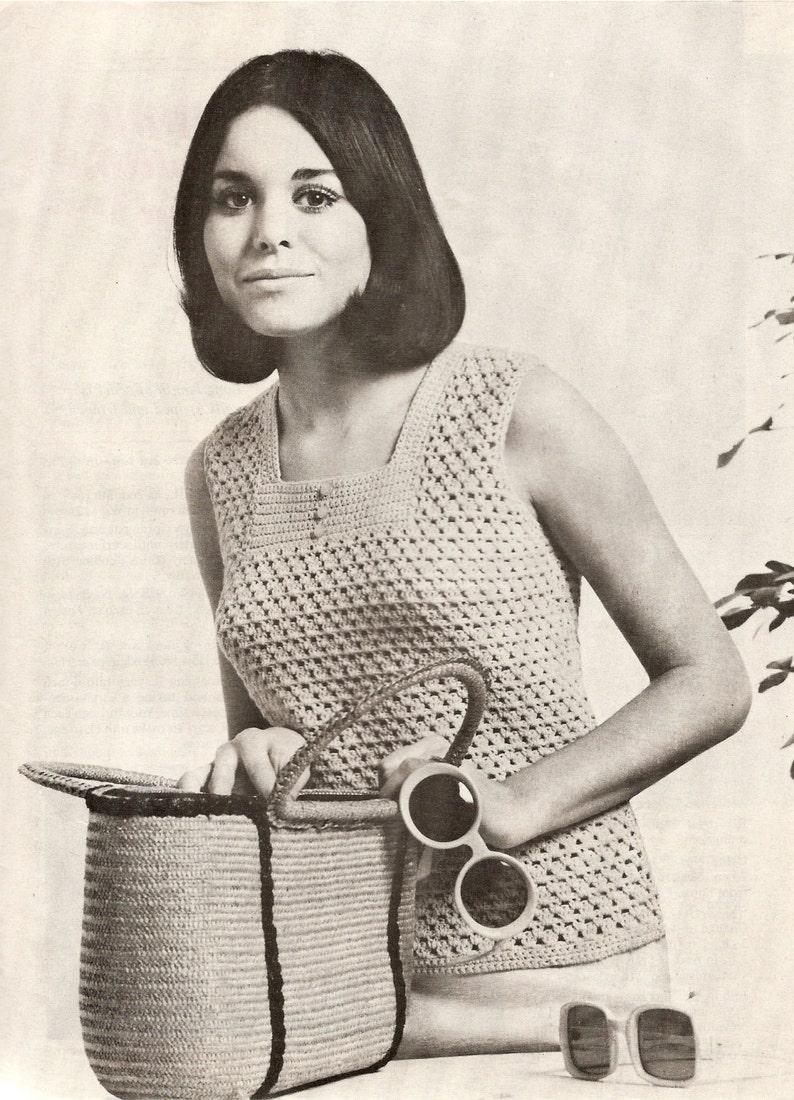 PDF Crochet Pattern Sixties Lady's Sleeveless Summer Top image 0