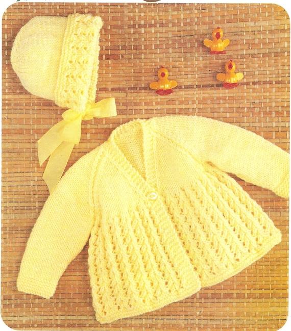 0730ac9ef3e7 PDF Knitting Pattern Baby s Matinee Coat and Bonnet DK
