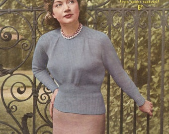 """PDF Knitting Pattern Vintage Classic Lady's Jumper Softly Fitted 1940's 36-38"""" Bust  3 Ply Instant Download"""