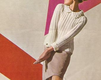 "Vintage 1960's Knitting Pattern MARY QUANT Designer Sweater & Socks 34-48""  PDF Instant Download"