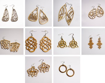 Wooden Geometric Pattern Earrings