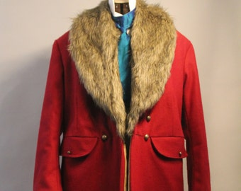 Frock coat, Victorian style overcoat, vintage style mens coat,  Edwardian great coat, bespoke mens coat, long red woolen coat