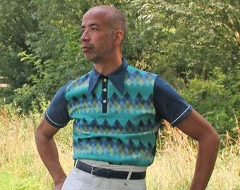 blue check knit 40s style polo shirt with spearpoint collar