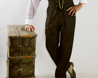 1940s swing trousers, 1930s style high waisted trousers, wool brown pin stripe with fishtail back