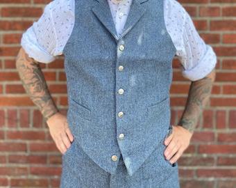 tweed waistcoat, vintage style vest, 1930s waistcoat, herringbone tweed waistcoat, wool tailored vest, 1940s waistcoat, vintage menswear,
