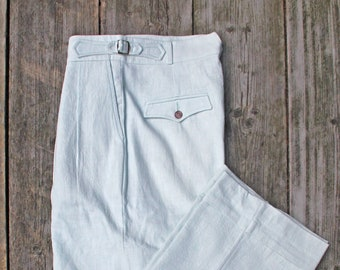high waist trousers in powder blue linen with reverse pleats vintage style