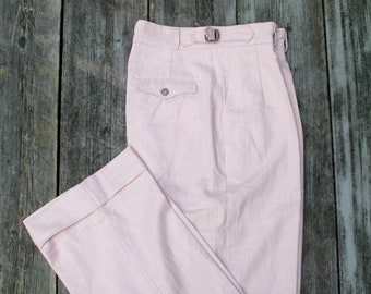 pink linen pleated high waist trousers in vintage style