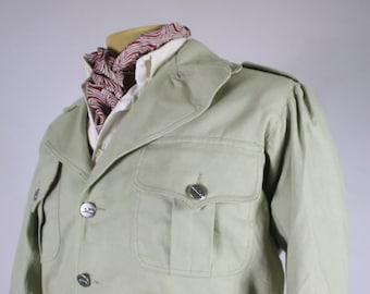 vintage style short jacket canvas after 1940s pattern sage green