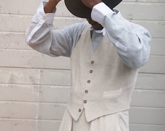 cream linen waistcoat 1940s style with vintage nos buttons