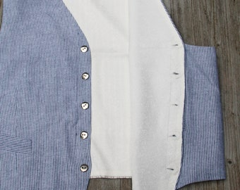 1940s style striped linen waistcoat indigo and cream small stripes with vintage nos buttons