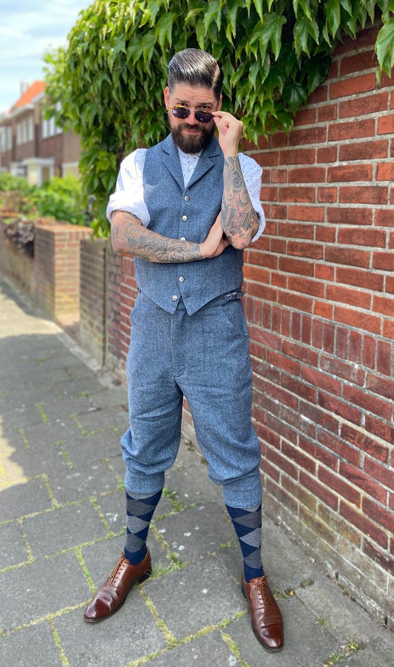Men's Vintage Pants, Trousers, Jeans, Overalls 1930s knickerbocker in herringbone wool tweed greay and blue melange tweed cycling breeches $257.00 AT vintagedancer.com