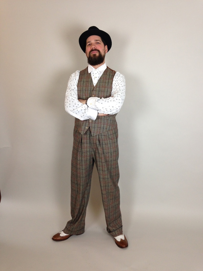 1920s Fashion for Men fishtail back trousers vintage style trousers high rise mens pants 30s 40s Lindy Hop trousers checkered pants $237.52 AT vintagedancer.com