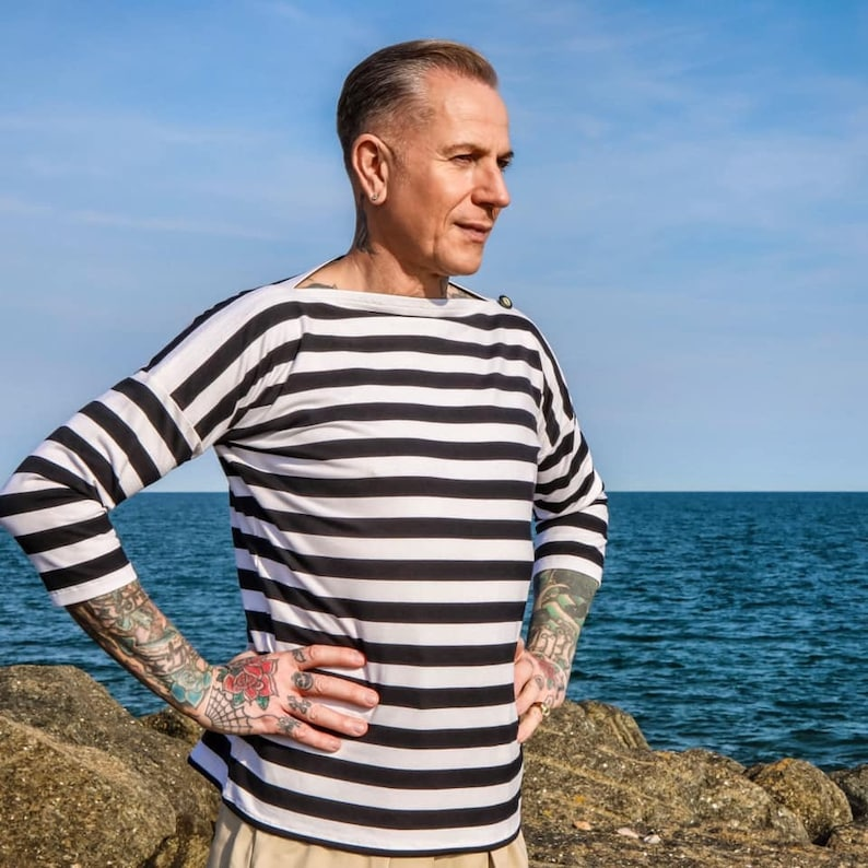 1930s Men's Summer Clothing Guide Breton stripes sailor shirt navy blue white striped mens shirt mens vintage style shirt bio cotton striped mens shirt navy shirt $112.43 AT vintagedancer.com