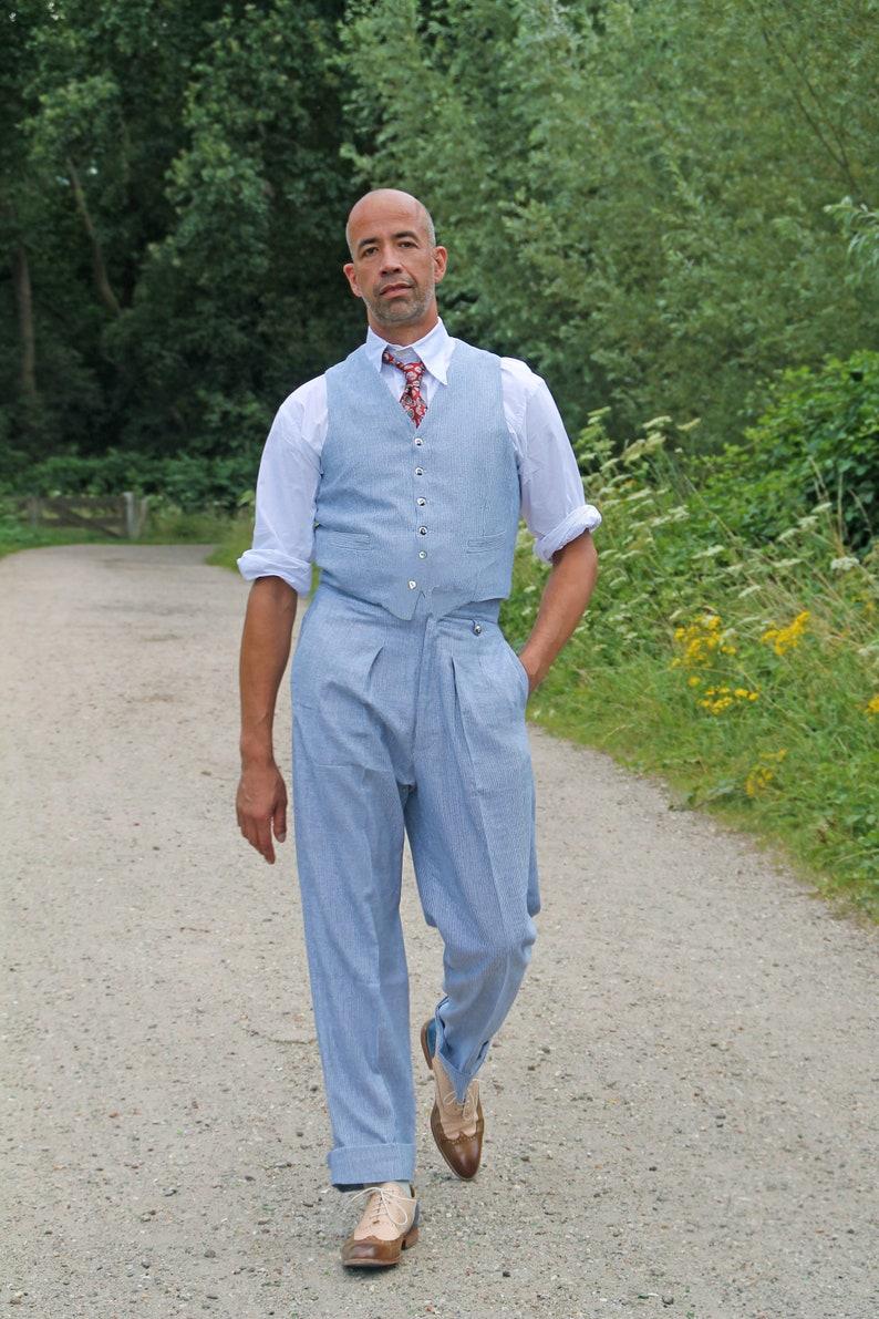 1920s Men's Outfit Inspiration – Costume Ideas Roaring Twenties SunnySideCouture linen rayon fishtail back trousers fine blue stripes  AT vintagedancer.com