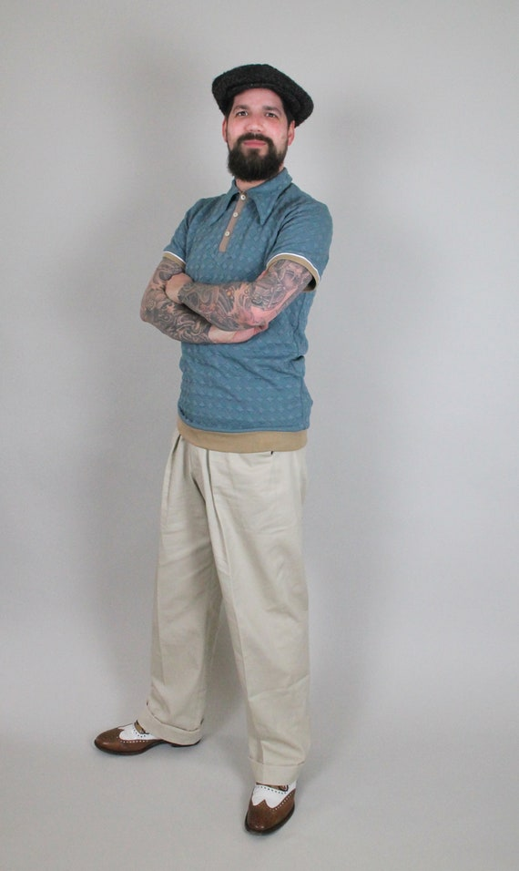 Men's Vintage Pants, Trousers, Jeans, Overalls  1930s style high rise cotton twill trousers in sand colour leisure vintage style trousers high waist mens trousers vintage sports wear $163.15 AT vintagedancer.com