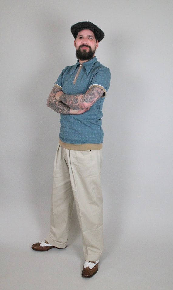 1940s UK and Europe Men's Clothing – WW2, Swing Dance, Goodwin  1930s style high rise cotton twill trousers in sand colour leisure vintage style trousers high waist mens trousers vintage sports wear $163.15 AT vintagedancer.com