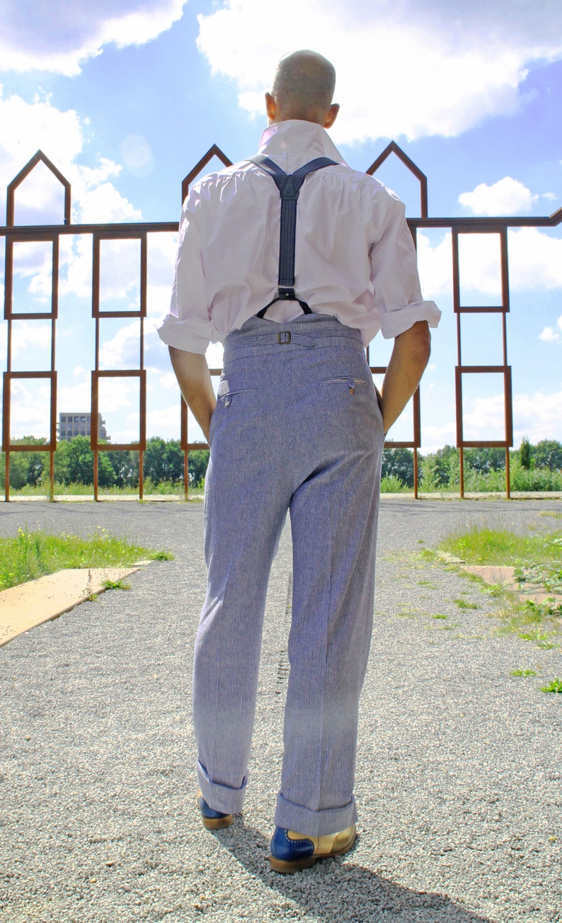 Men's Vintage Pants, Trousers, Jeans, Overalls linen fishtail back trousers fine blue stripes $182.00 AT vintagedancer.com