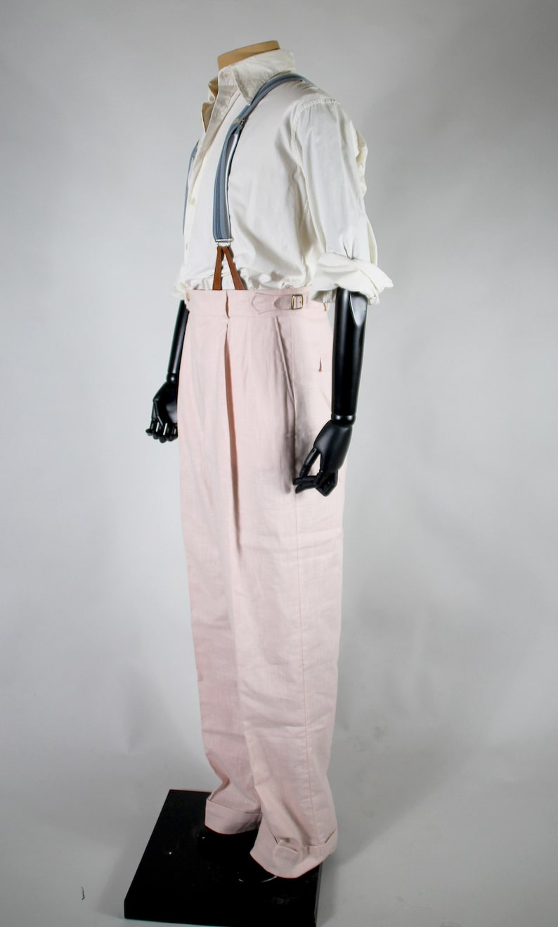 1920s Men's Pants History: Oxford Bags, Plus Four Knickers, Overalls     Read the full title    pink linen pleated high waist trousers in vintage style $265.93 AT vintagedancer.com
