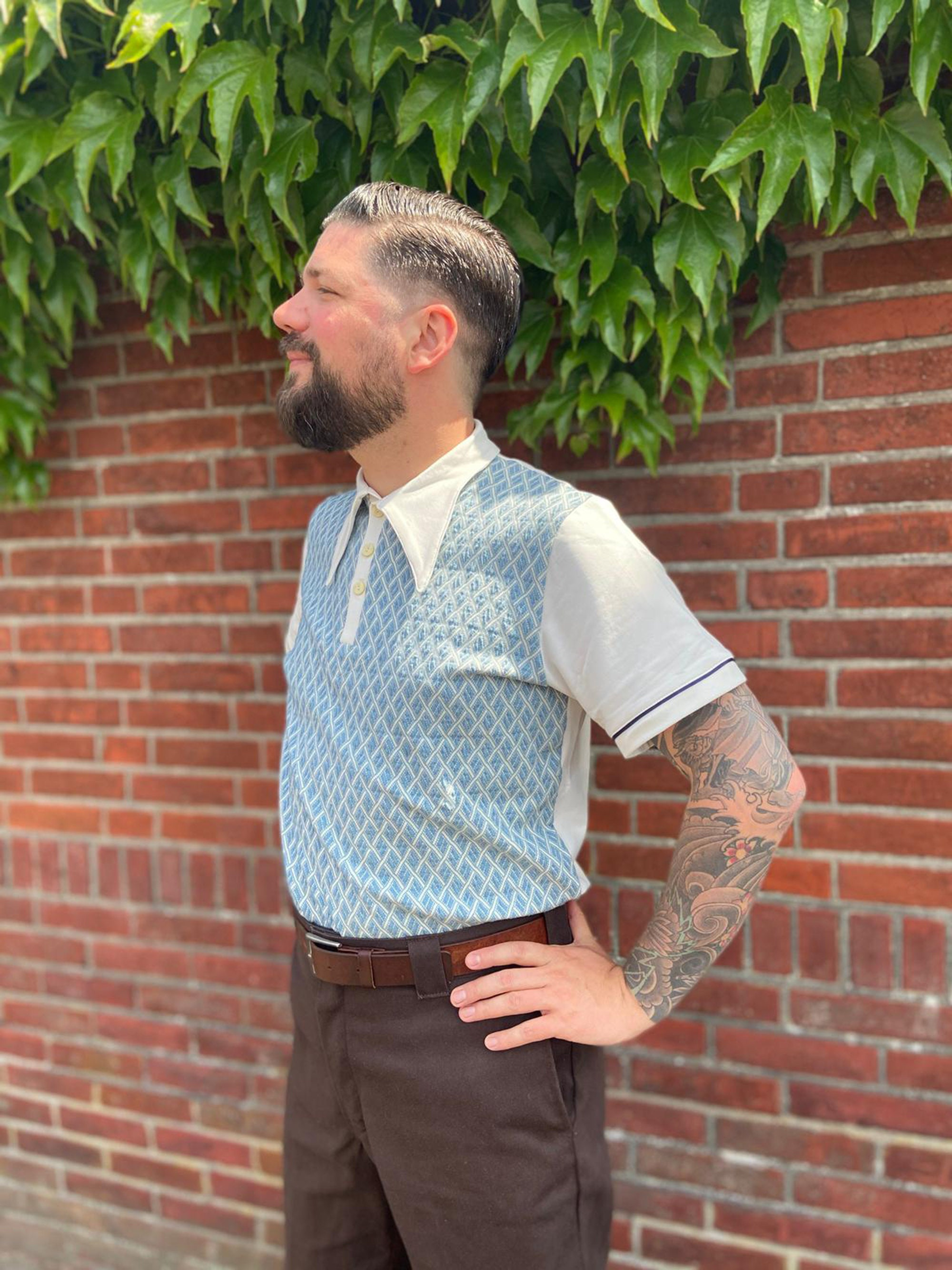 1940s Men's Shirts, Sweaters, Vests Polo Shirt Light Blue Retro Style, Spear Point Collar Polo Shirt, Vintage Style Checkered Polo, 30s, 40s, Mens Lindy Hop Clothing $114.49 AT vintagedancer.com