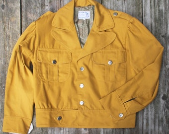 utility jacket mustard yellow canvas after 1940s pattern
