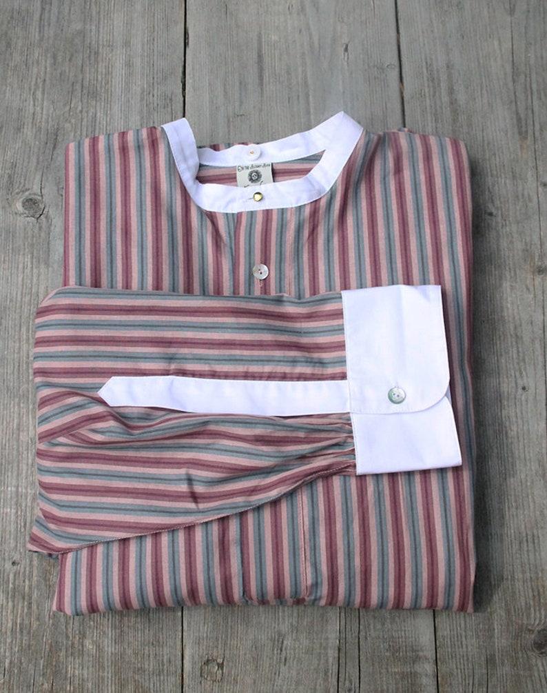 e65ea9b526e 1920 s style collarless shirt vintage style striped shirt