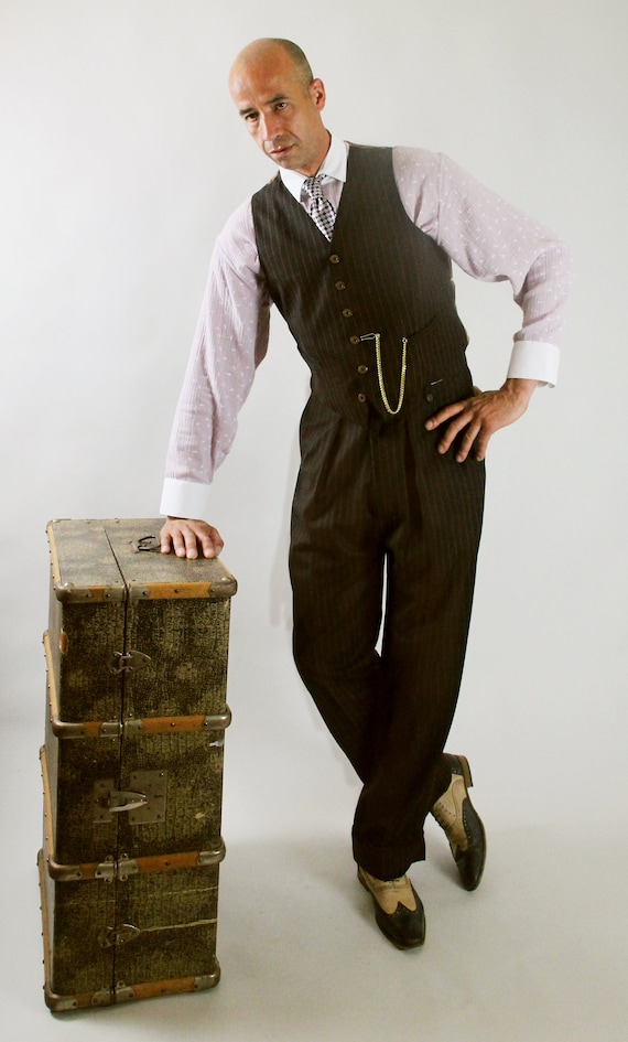 Men's Vintage Pants, Trousers, Jeans, Overalls 1940s mens pants 1930s high waisted slacks made to measure swing trousers made to order pants brown pinstripe bespoke lindy hop pants $233.72 AT vintagedancer.com