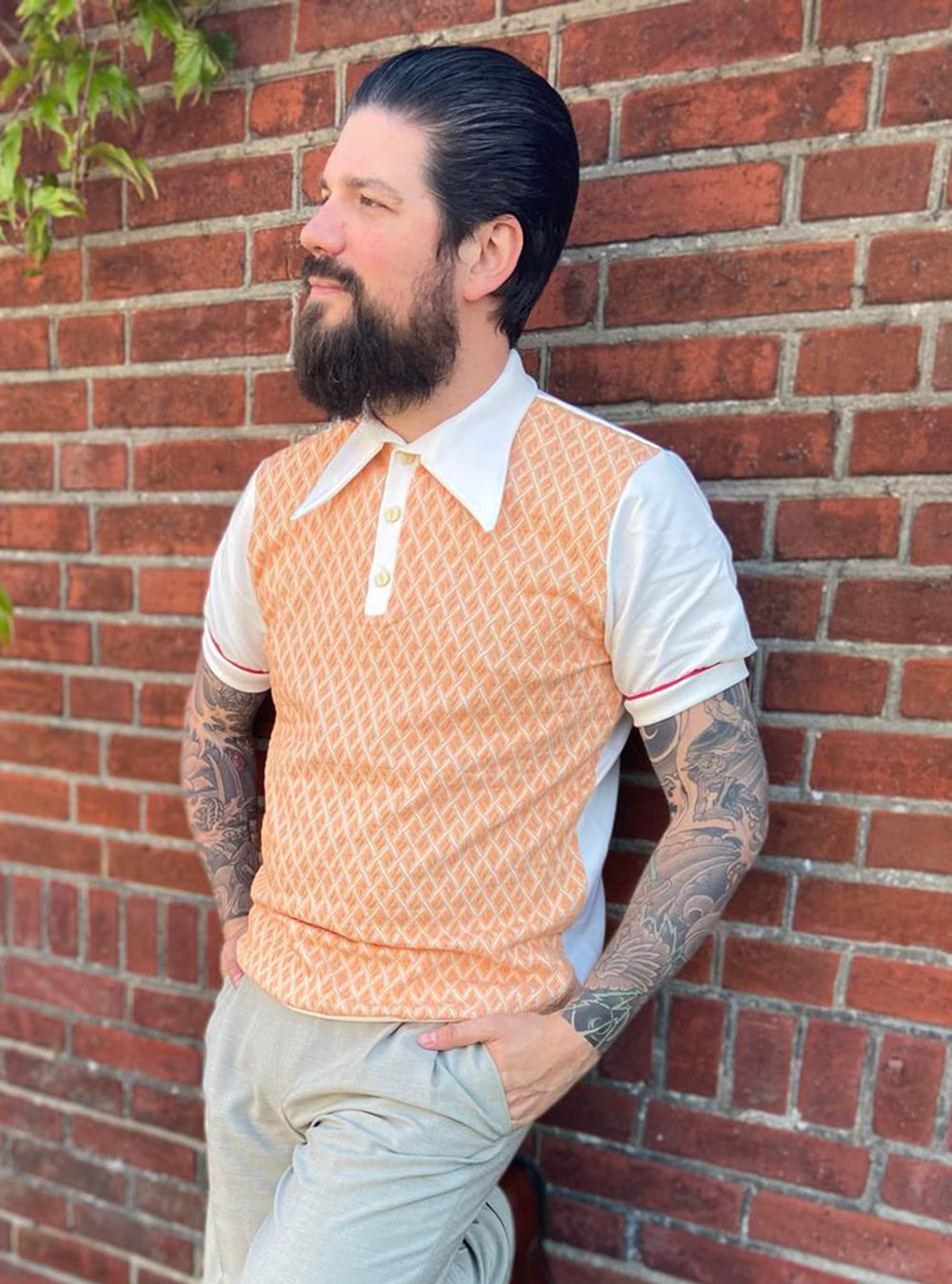 1940s Men's Shirts, Sweaters, Vests Vintage Style Polo Orange, Salmon Pink Mens Shirt, Retro 30S, 40S Mens Polo, Checkered Bio Cotton Lindy Hop $114.49 AT vintagedancer.com