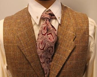 vintage style tweed vest, lapeled men's waistcoat in brown tweed, vintage menswear, 1940's vest