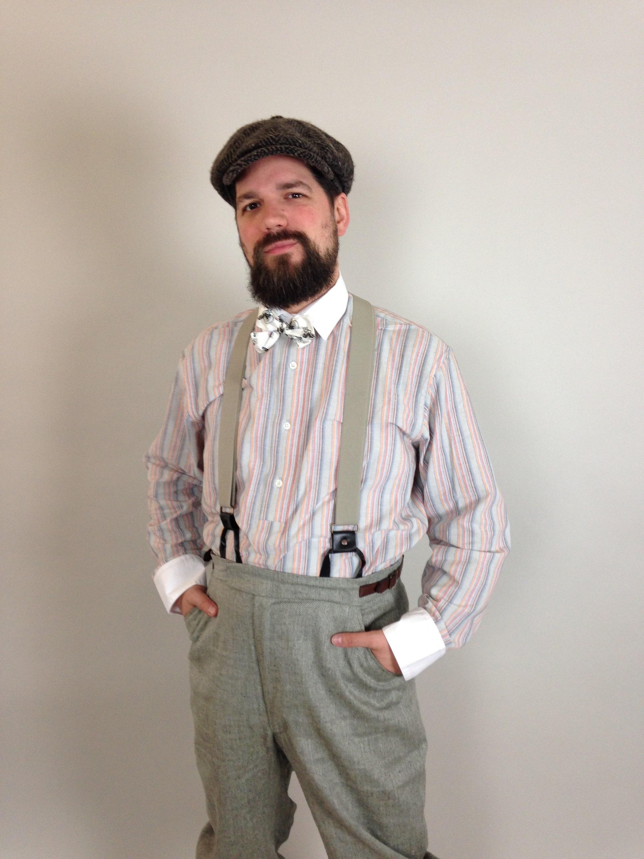 1940s Men's Shirts, Sweaters, Vests 1920S Style Mens Dress Shirt, Striped Cotton Extra Long  Wide Shirt Victorian Edwardian $141.30 AT vintagedancer.com