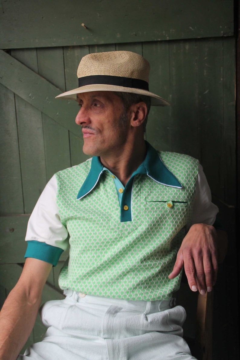 Mens Vintage Shirts – Casual, Dress, T-shirts, Polos     Read the full title    retro polo shirt mens with 1930s style spear point collar in green bio cotton knit $154.72 AT vintagedancer.com