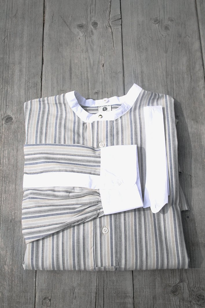 1940s Men's Shirts, Sweaters, Vests Mens Edwardian Shirt, Vintage Style Striped Shirt For Detachable Collars, Peaky Blinders Grey Blue Mens 1930, 1920 $141.30 AT vintagedancer.com