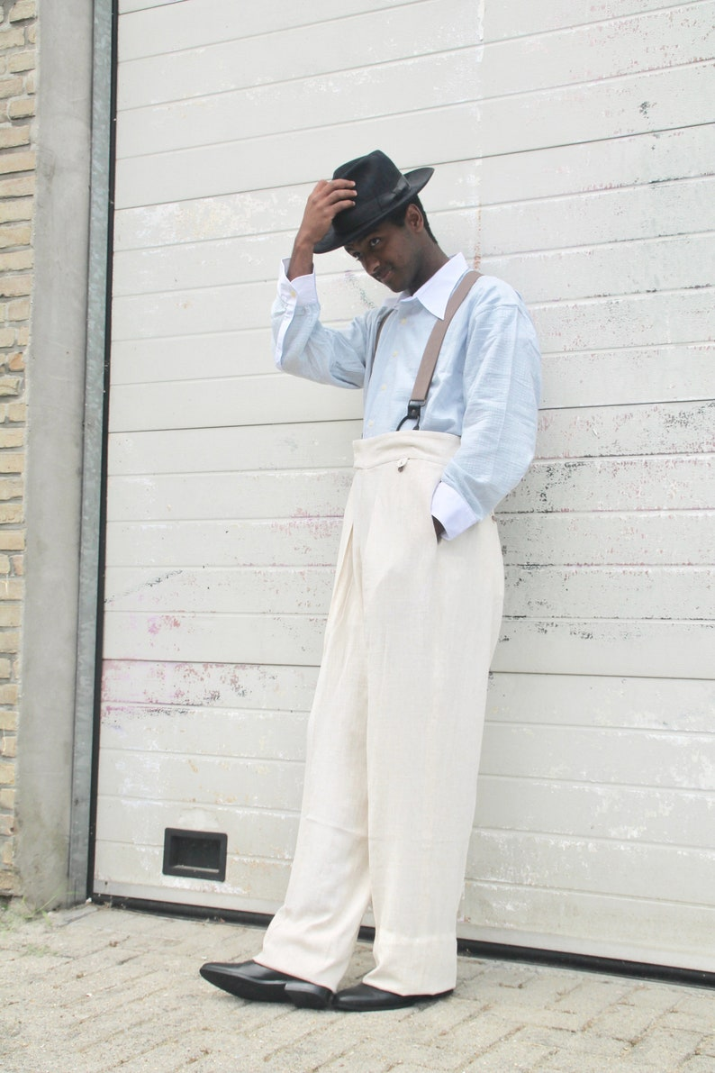 Men's Vintage Pants, Trousers, Jeans, Overalls 40s style cream linen trousers pleated wide fit with fishtail back $195.00 AT vintagedancer.com