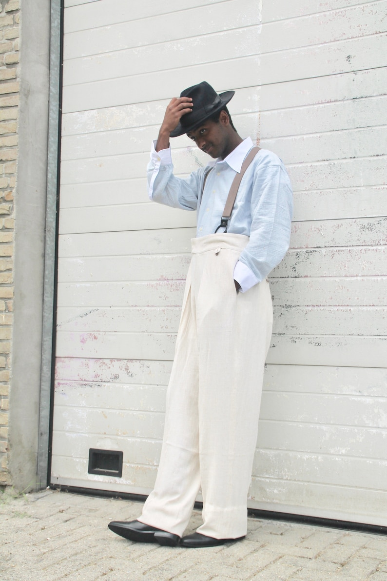 1950s Men's Pants, Trousers, Shorts | Rockabilly Jeans, Greaser Styles 40s style cream linen trousers pleated wide fit with fishtail back $195.00 AT vintagedancer.com