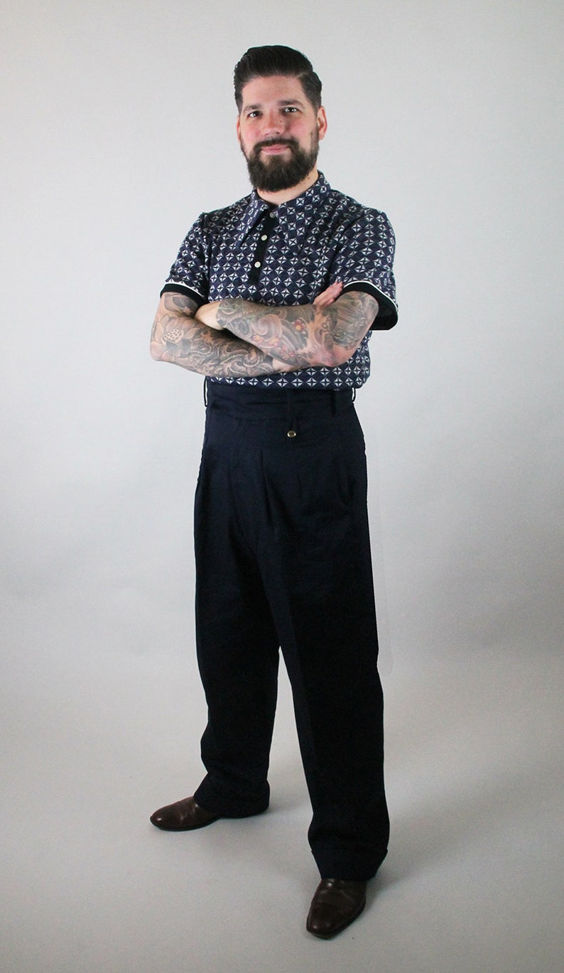 1930s Men's Summer Clothing Guide high waist trousers 1930s style cotton twill mens trousers navy blue vintage style pants lindy hop mens trousers 1940s mens $161.05 AT vintagedancer.com