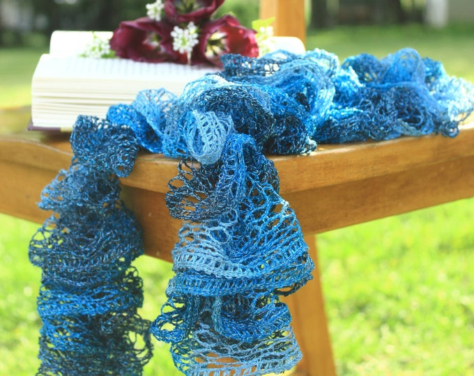 Featured listing image: Blue Sparkles Ruffle Scarf ~ shades of blue with a hint of sparkle!